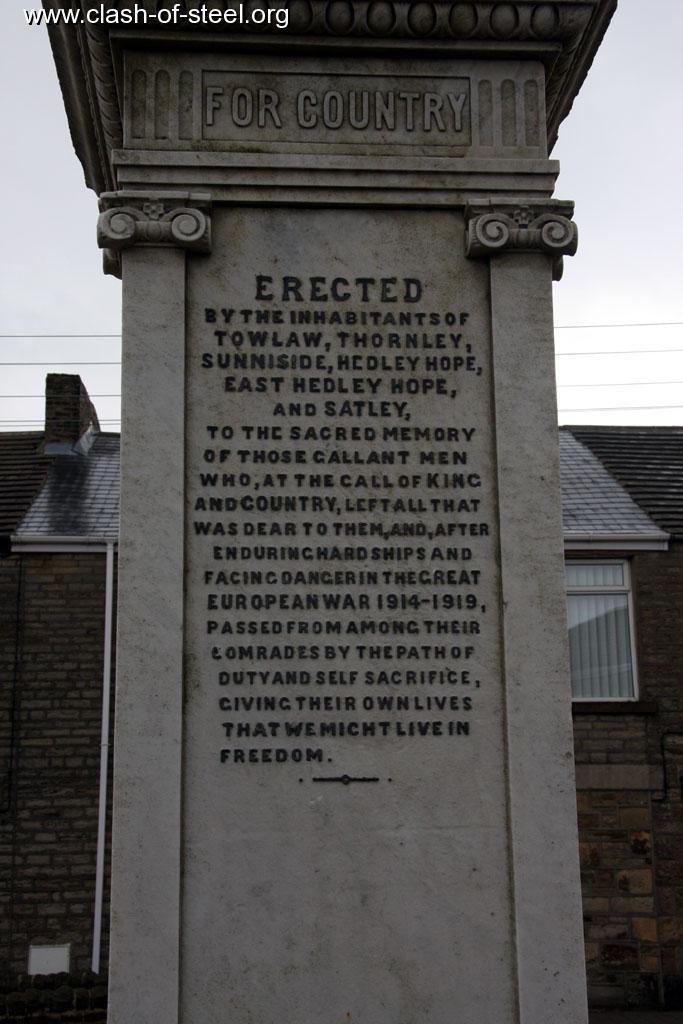 Royal Gate Dodge >> Clash of Steel, Image gallery - Towlaw War Memorial